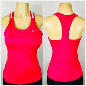 Nike Dri-Fit Tank Top Eraser Back Pink Builtin Bra